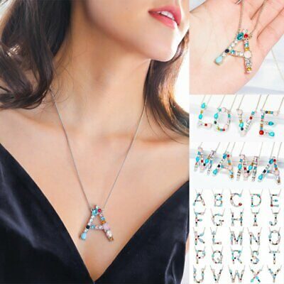 Women Fashion Full Crystal Initial Large 26 A-Z Letters Pendant Necklace Gifts