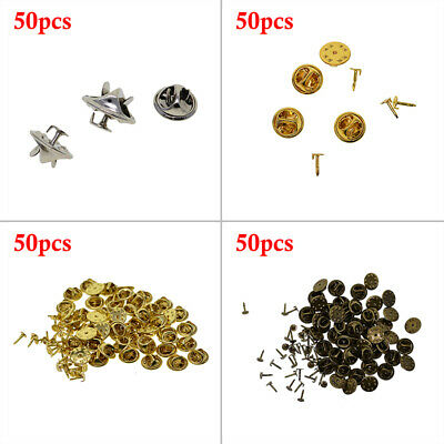 Blank Silver Gold Tie Brooch Tac Pins Findings Jewellery Making Bow Backs/Clutch