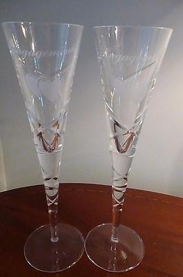 Pair of Crystal Swirl Patterned Champagne Glasses Engagement Engraved. GIFT!!