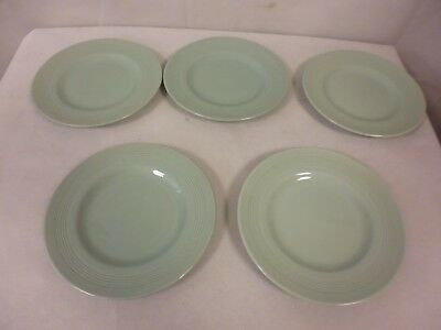 "Vintage Woods Ware ""Beryl"" Green - 5 Tea Plates 7"" In Diameter       (Ew)"