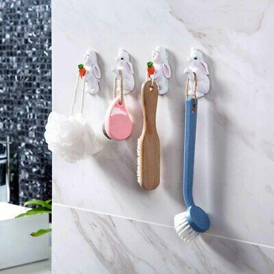 Coat Hat Clothes Bags Wall Hook Hangers Holder Rack Cute Rabbit Self Adhesive