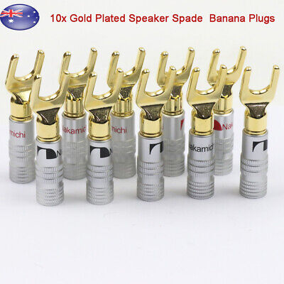 10x Gold Plated Spade Terminal Banana Plugs Audio Adapter 4mm Speaker Wire Cable