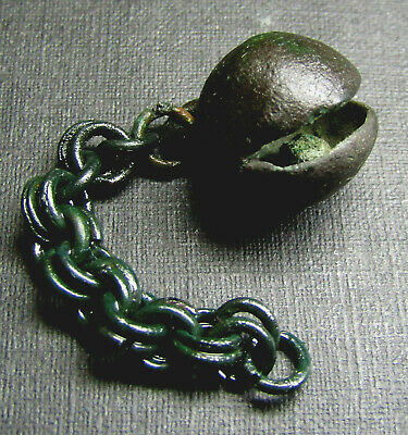 Ancient Bronze Viking Pendant. BELL D1. Chain.