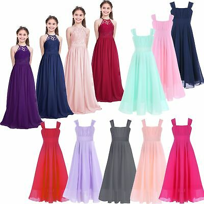 Girls Kids Princess Formal Wedding Bridesmaid Birthday Gown Long Dress Aged 4-14