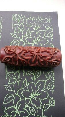 two wine leaves Pattern Paint Roller _1930er