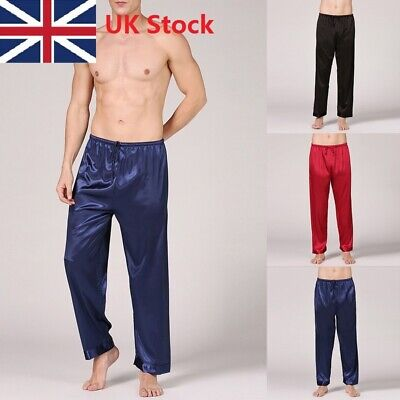 Men Silk Satin Pajamas Pyjamas Loupe Pants Trousers Bottoms Cozy Sleepwear UK