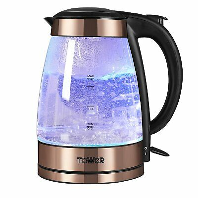 Tower Retro Rose Gold 1.7 Litre 3Kw Stainless Steel Illuminated Glass Kettle
