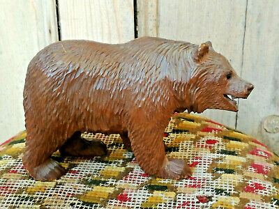 Larger Size Old Vintage Antique Carved Wooden Black Forest Bear Wood 1900 Swiss