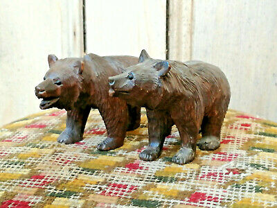 Pair Of Old Vintage Antique Carved Wooden Black Forest Bears Wood Swiss C. 1900
