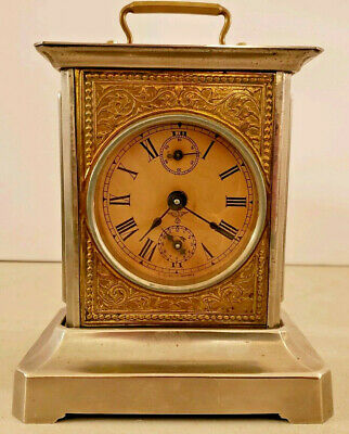 Antique Working Mauthe German Victorian Carriage Clock Swiss Musical Alarm Clock