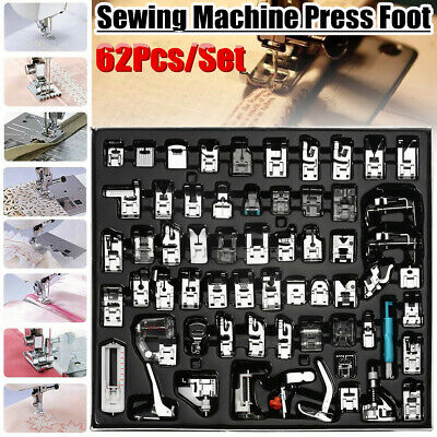 62Pcs Presser Foot Press Feet For Brother Singer Domestic Sewing Machine Kit