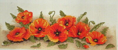Anchor Completed Counted Cross Stitch Unframed Picture Spray of Poppies