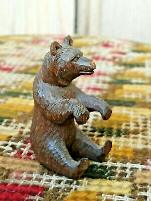 Vintage Antique Carved Wooden Miniature Black Forest Bear Wood Dolls House Toy 1