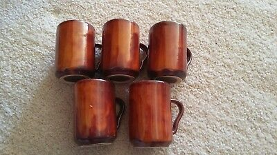 5 Ray Cook Pottery Slip-Cast, Drip-Glaze Red Earth Mugs - Signed - 1960s