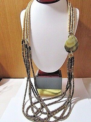 New Old Stock Chico's Necklace Long Heishe Wood Beaded W Shell Brass Accent