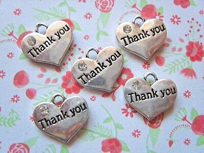 5x Antique Silver THANK YOU Rhinestones Double Sided HEART CHARMS