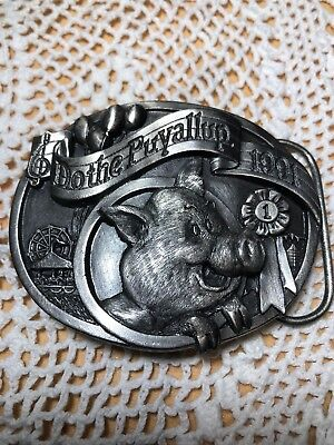 "Vintage Pewter Puyallup Fair Belt Buckle by Siskiyou ""Do The Puyallup"" 1991 LE"