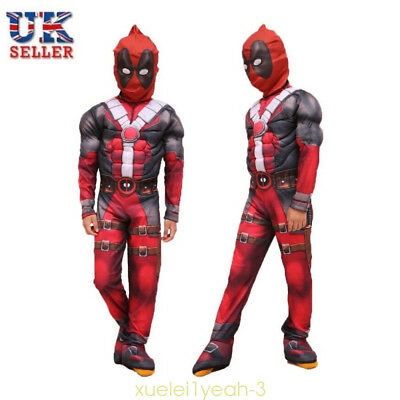 Kids Cosplay Deadpool X-man Superhero Boys Party Carnival Halloween Costume UK*