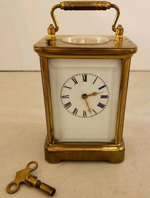 Antique Working 1891 WATERBURY Victorian Brass & Glass Repeater Carriage Clock