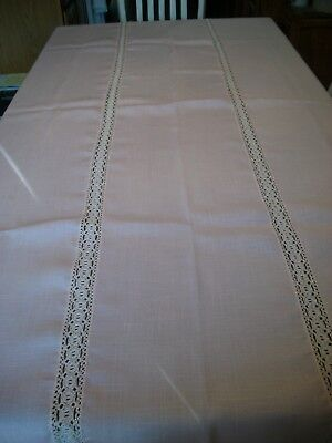 "Vintage Pale Pink Heavy Cloth Tablecloth with Crochet and Gold 60"" x 85"""