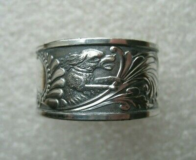 Antique Dog & Cherub,Floral Design Silverplate Napkin Ring Nicely Detailed