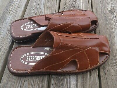 NWOB MEN EVERGREEN  SLIDES COMFORTABLE/CASUAL Brown, Size 11