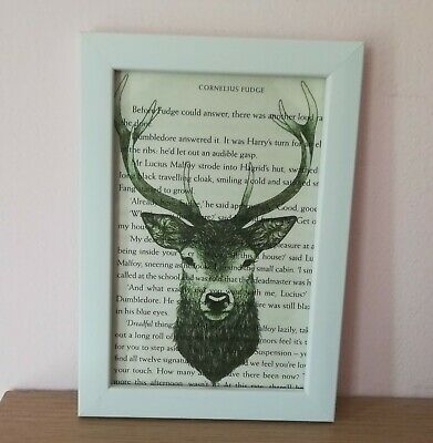 Harry Potter Framed Stag Patronus Book Art Print