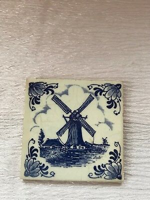 Vintage Small Blue & White Delft Square Pottery Tile with Dutch Windmill - 2 and