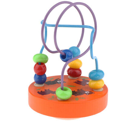 Colorful Wooden Circle Bead Maze Cube Roller Coaster Toy Educational Abacus