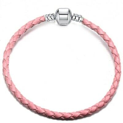 Woven Leather Bracelet By Pandora's GemBox Pink,Red,Purple,white & Black16-21cm