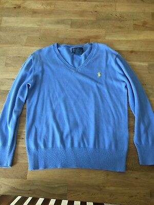EE72 Polo Ralph Lauren Boys Age/Size 6 Light Blue Pima Cotton V Neck Jumper
