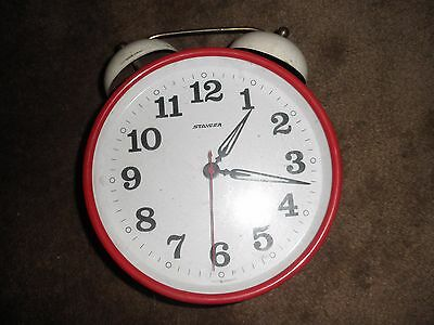 COLLECTABLE VINTAGE RETRO STAIGER WIND UP ALARM CLOCK   8 inches tall works