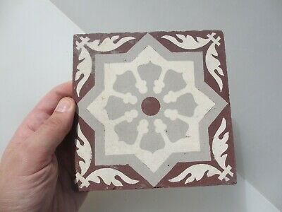 Victorian Ceramic Floor Tile Gothic Antique 1800's Old Pugin Terracotta Floral