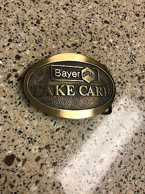 "Vintage Rare Bayer Mobay ""Take Care"" Solid Brass Belt Buckle EUC.  Hard To Find"