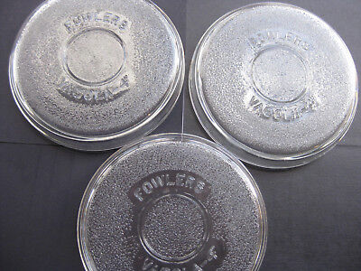 size 4 Fowlers Vacola Vintage Textured Glass Covers  Preserving Lids set 3