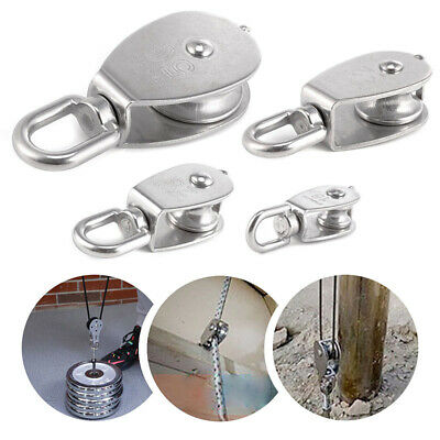 1 Pcs Stainless Steel 304 Swivel Double Pulley Chain Traction Wheel M25 32 50