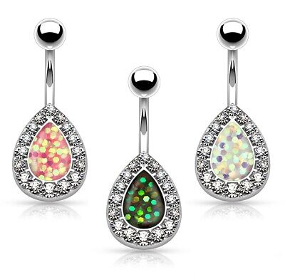 New Steel Imitation Opal Glitter Centered Crystal Paved Tear Drop Belly Bar