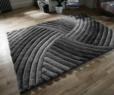 SMALL - LARGE THICK SOFT CARVED PILE SILVER GREY BLACK 3D FURROW RUG - Ltd Stock