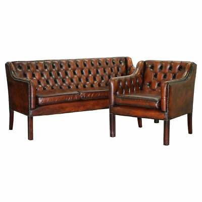 Vintage Restored Chesterfield Brown Leather Gun Suite 3 Seater Sofa & Armchair