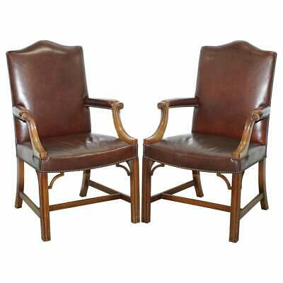 Pair Of Original 1930's Hillcrest Vintage Brown Leather Gainsborough Armchairs
