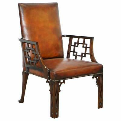 Rare Circa Circa 1830 Chinese Chippendale Fully Restored Brown Leather Armchair