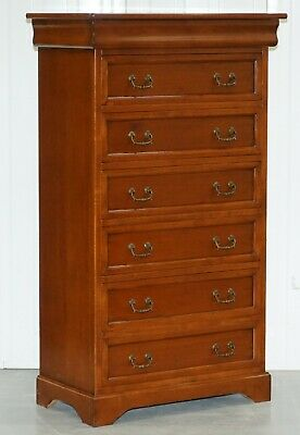 Tallboy Chest Or Bank Of Drawer Made In Italy By Consorzio Mobili Mahogany Frame