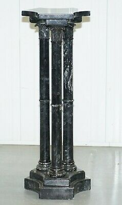 Lovely Unique Solid Marble Pedestal Column With Three Central Corinthian Pillars