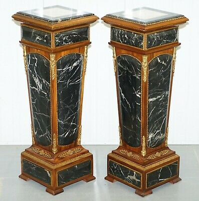 Pair Of French Empire Marble & Kingwood + Ormolu Mounts Pedestal Columns Pillars