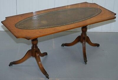 Vintage Burr Walnut Coffee Table With Green Distressed Leather Top Lovely Patina