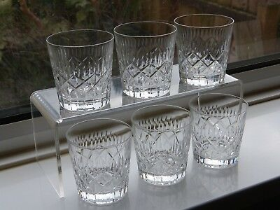 6 Rare Waverley Cut Crystal Old Fashioned Whisky Tumblers - Edinburgh Scotland