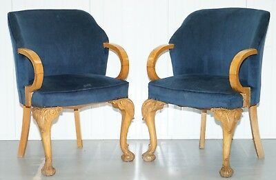 Pair Of 1930'S Art Deco Tub Armchairs Carved Georgian Legs Royal Blue Upholstery