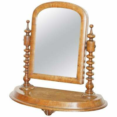 Stunning Georgian Cheval Table Top  Toilet Dressing Table Walnut Plate Mirror