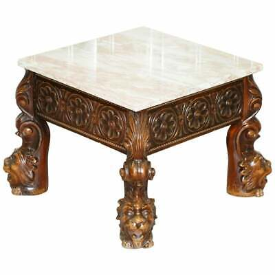 Stunning 18Th Century Style Side Table Lion Head Carved Wood Legs Marble Top