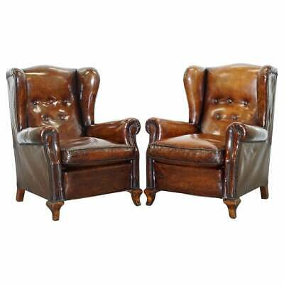 Pair Of Restored Victorian Wingback Whisky Brown Leather Armchairs Feather Seats